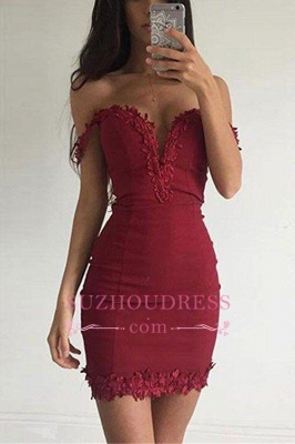 Burgundy Short Sexy Sheath Appliques Off-the-shoulder Homecoming Dress BA3581_1