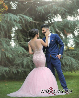 Applique 2020 Sleeveless Long Pink Sexy Mermaid Tulle Wedding Dresses_2