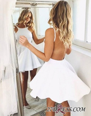 Backless White Sleeveless Cute A-line Short-mini Cocktail Dress_4