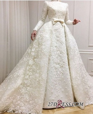 Long-Sleeves Muslim Full Lace 2020 Wedding Dresses Overskirt Online BA9362_1