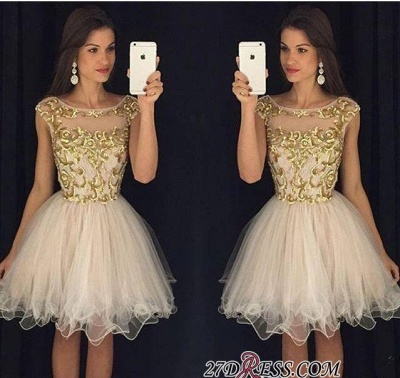 Champagne Gold Sheer Neckline Capped-Sleeves Homecoming Dresses AP0 ba3580_2
