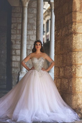 Glamorous Illusion Half Sleeve Tulle Wedding Dress Beadings Ball Gown_3