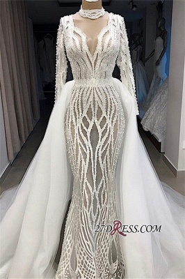 Charming Long-Sleeves High-Neck Lace Overskirt Wedding Dresses_3