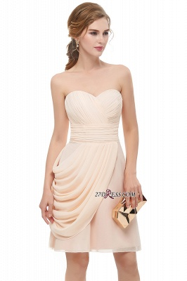 Short Cocktail Chiffon Strapless Sheath Simple Homecoming Dresses_3