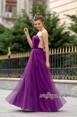 A-line Ruffles Backless Formal Floor-length Charming Sweetheart Evening Dress_6
