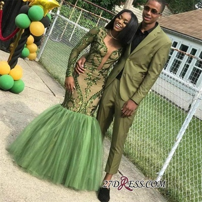 Gorgeous Green Long Sleeve Tulle Prom Dress   2020 Mermaid Sequins Evening Gowns BK0_3