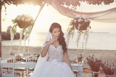 Delicate Tulle Lace Appliques 2020 Wedding Dress Off-the-shoulder Ball Gown_5