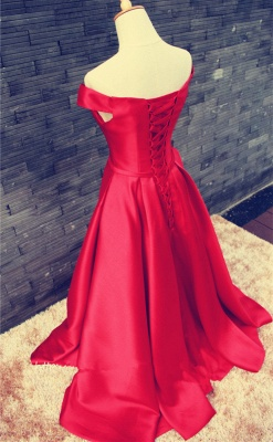 Elegant Red Off-the-shoulder 2020 Prom Dress Bowknot Lace-up_4