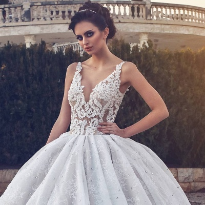 Glamorous V-neck Lace Wedding Dress | 2020 Ball Gown Bridal Dress_3
