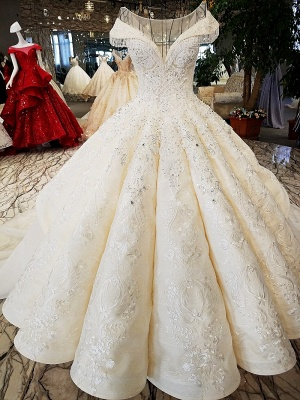 Luxurious Cap Sleeve Ball Gown Wedding Dresses | 2020 Lace Beadings Bridal Gowns_2