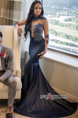 Sexy See Through Appliques Mermaid Prom Dresses | High Neck 3/4 Long Sleeves Evening Dresses BC1007 BK0_3