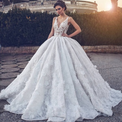 Glamorous V-neck Lace Wedding Dress | 2020 Ball Gown Bridal Dress_5