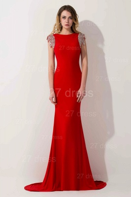 Sexy Red Cap Sleeve 2020 Prom Dress Long With Crystals_1
