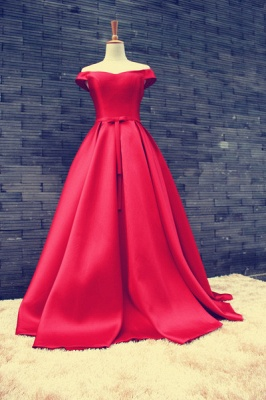 Elegant Red Off-the-shoulder 2020 Prom Dress Bowknot Lace-up_3