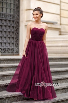 A-line Ruffles Backless Formal Floor-length Charming Sweetheart Evening Dress_4