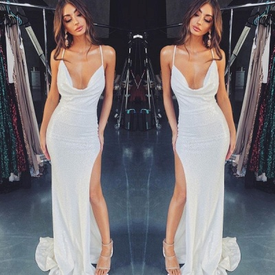 2020 Sexy Spaghetti Strap Sleeveless Mermaid Evening Gown | White Sequins Evening Dress With Front Split_2