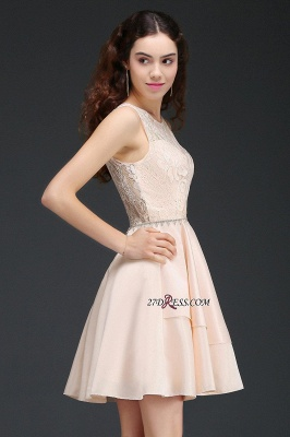 Elegant A-line Sleeveless Beading Tiers Lace Homecoming Dresses_4