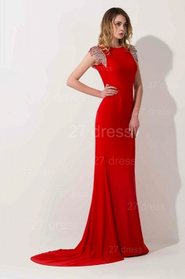 Sexy Red Cap Sleeve 2020 Prom Dress Long With Crystals_2