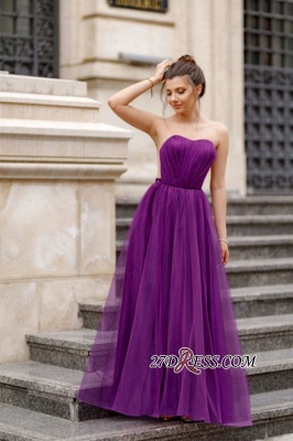 A-line Ruffles Backless Formal Floor-length Charming Sweetheart Evening Dress_8