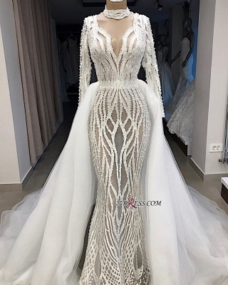 Charming Long-Sleeves High-Neck Lace Overskirt Wedding Dresses_2