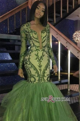 Gorgeous Green Long Sleeve Tulle Prom Dress   2020 Mermaid Sequins Evening Gowns BK0_1
