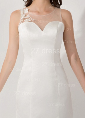 Sexy White Mermaid Illusion Evening Dress Pearls Bowknot Sweep Train_3