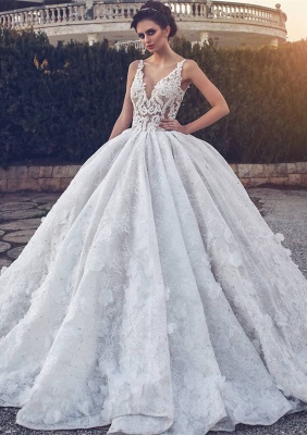 Glamorous V-neck Lace Wedding Dress | 2020 Ball Gown Bridal Dress_1