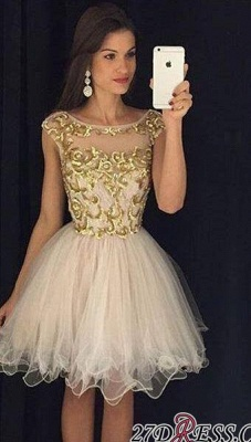 Champagne Gold Sheer Neckline Capped-Sleeves Homecoming Dresses AP0 ba3580_3