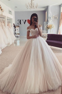Off-the-Shoulder Puffy Tulle Ball Gown A-line Chic Bridal Dress_1