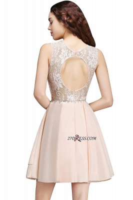 Elegant A-line Sleeveless Beading Tiers Lace Homecoming Dresses_5