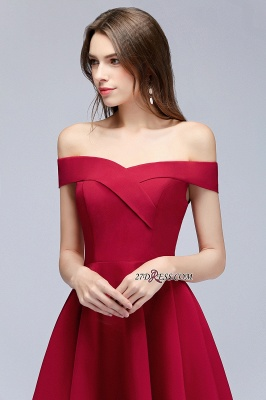 Length Knee Sweetheart A-Line Off-the-Shoulder Homecoming Dresses_2