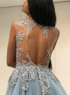 Stunning Crew Sleeveless Tulle Prom Dress | 2020 Lace Appliques Floor-length Evening Gown_2
