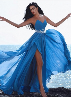 Modern Blue Sweetheart Chiffon Prom Dress with Split | 2020 Long Party Gown_1