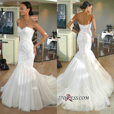 Strapless Sleeves Mermaid Lace Sweep-train Tulle Wedding Dress_1