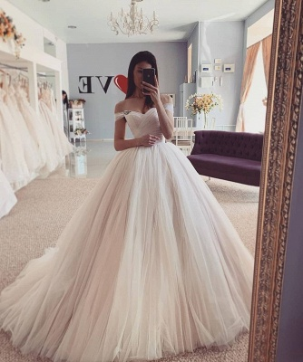 Off-the-Shoulder Puffy Tulle Ball Gown A-line Chic Bridal Dress_2