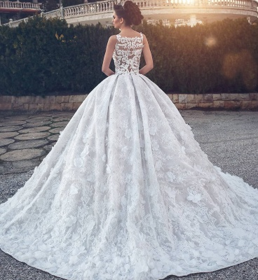 Glamorous V-neck Lace Wedding Dress | 2020 Ball Gown Bridal Dress_4