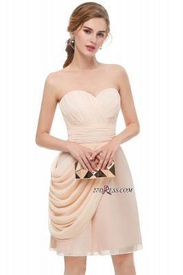 Short Cocktail Chiffon Strapless Sheath Simple Homecoming Dresses_4