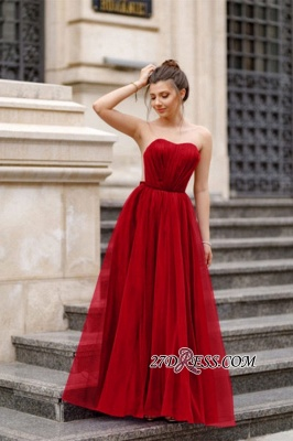 A-line Ruffles Backless Formal Floor-length Charming Sweetheart Evening Dress_3