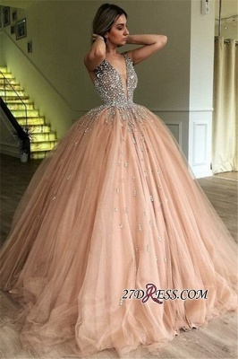 Ball Floor-Length Glamorous Tulle V-Neck Sleeveless Beading Gown Prom Dresses_1