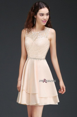 Elegant A-line Sleeveless Beading Tiers Lace Homecoming Dresses_3