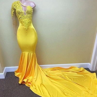 Yellow one shoulder mermaid prom dress, lace evening dresses 2020_3