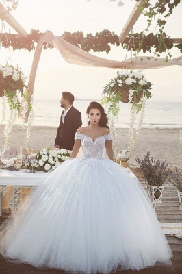 Delicate Tulle Lace Appliques 2020 Wedding Dress Off-the-shoulder Ball Gown_4