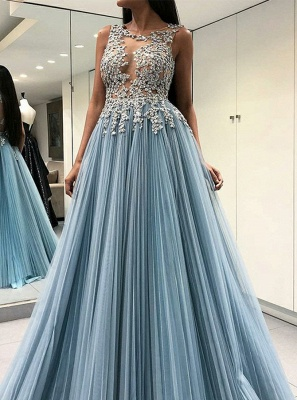 Stunning Crew Sleeveless Tulle Prom Dress | 2020 Lace Appliques Floor-length Evening Gown_1