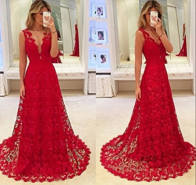 Sexy Red Lace V-Neck Prom Dress 2020 Tulle BA3843_3