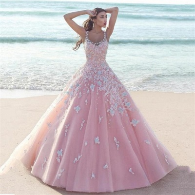Elegant Pink Prom Dress  2020 Lace Appliques Sleeveless Evening Gowns_3