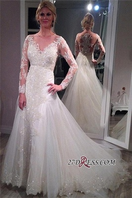 2020 Tulle Glamorous Lace Long-Sleeve Sequins Appliques Wedding Dress_3