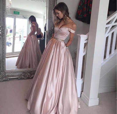 Off-the-Shoulder Beading Pockets Pearl-Pink Puffy 2020 Prom Dresses BA5008_2
