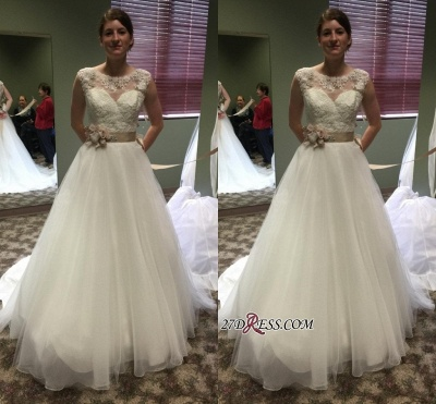 Lace Applique Princess Scoop Chic Cap-Sleeves 2020 Wedding Dresses Flower-Sashes_1