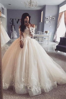 Glamorous Lace Appliques Ball Gown Wedding Dresses Long Sleeves Bridal Gowns_1