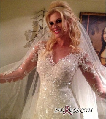 2020 Tulle Glamorous Lace Long-Sleeve Sequins Appliques Wedding Dress_2